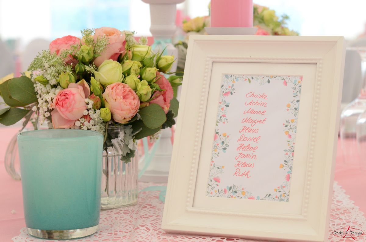 Tischkarte florale Muster in rosa und mint von Deko & Design Weinsberg
